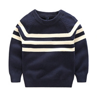 Spring And Autumn New Boys Classic Black And White Striped Cotton Long Sleeved Sweater Small Baby