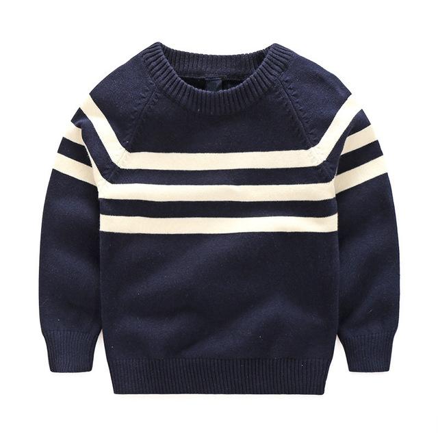 Camisolas criança Meninos Primavera Outono Black White Striped Cotton Pullovers Bonito Manga Comprida Knitting Crianças Camisetas Roupas