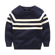 Enfant Shirts Printemps Automne Garçons Noir Blanc Rayé Coton Pulls Beau Manches Longues À Tricoter Enfants T-shirts Vêtements