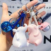 3D couple Angel pig elephant keychain for Lovers Gift Trinket lovely key holder women present sleutelhanger car keyring