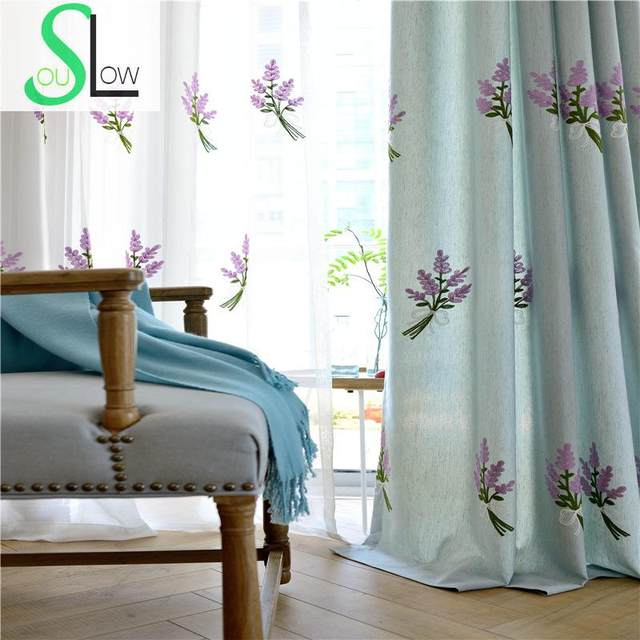 Slow Soul White Blue Yellow Jasmine Curtain Fabric Embroidered Floral Kitchen Curtains For Living Room Tulle Bedroom And Luxury