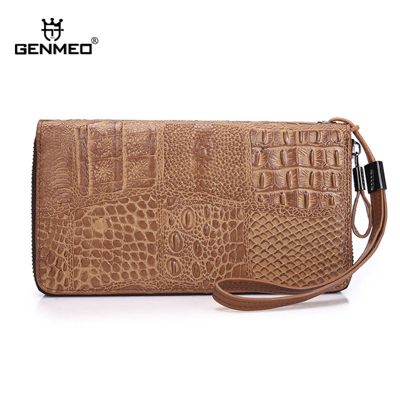 New Arrival Famous Design Ostrich Pattern Real Leather Wallets Vintage Genuine Leather Cards Holder Purse with Phone Pocket