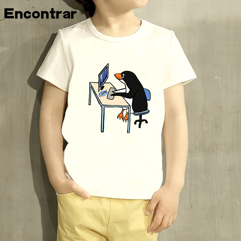 Kids The LINUX Penguin In A Computer Design Baby Boys/Girl TShirt Kids Funny Short Sleeve Tops Children Cute T-Shirt,HKP800
