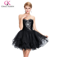 Free Shipping Grace Karin Girls Strapless Sequins Crystal Beaded Mini Voile Ball Cocktail Evening Prom Party