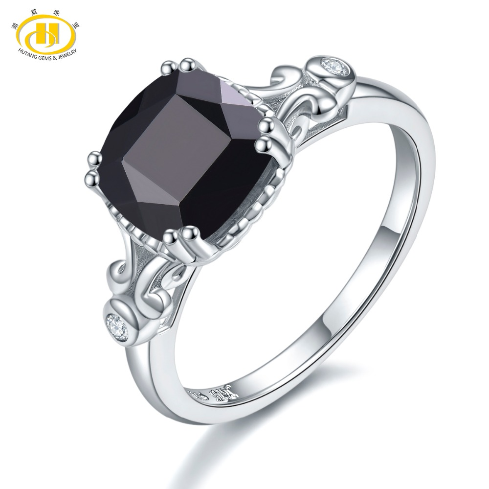 Hutang Wedding Ring Natural Gemstone Spinel Solid 925 Sterling Silver Crystal Fine Fashion Stone Jewelry For Womens Gift NewHutang Wedding Ring Natural Gemstone Spinel Solid 925 Sterling Silver Crystal Fine Fashion Stone Jewelry For Womens Gift New