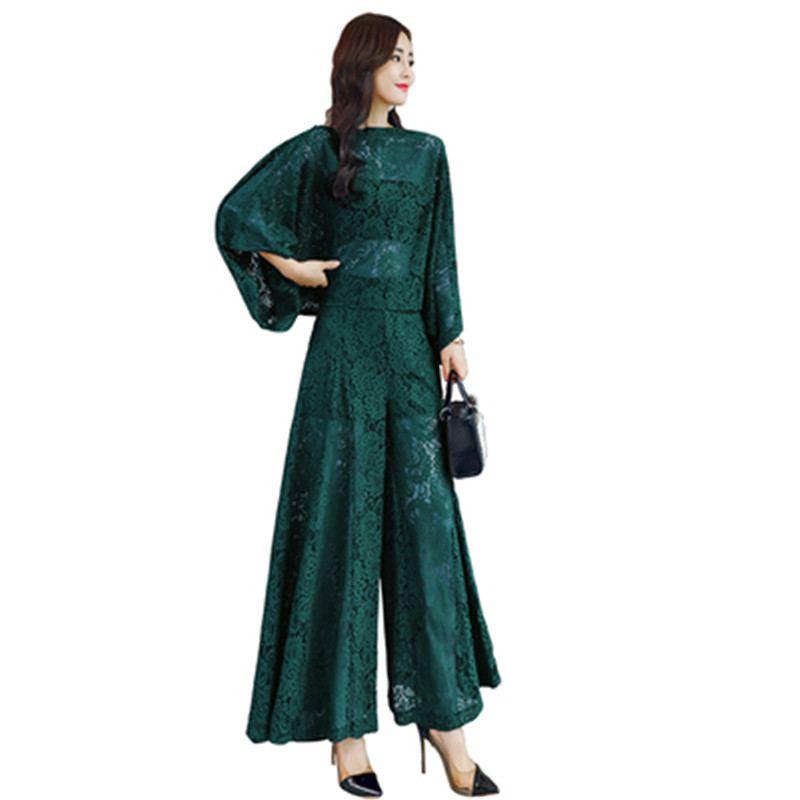 2019 Summer Women Vintage Hollow Out Lace Sets Female Elegant Batwing Sleeve Solid Shirt+Elastic Waist Wide Leg Pant Suits Z314 1