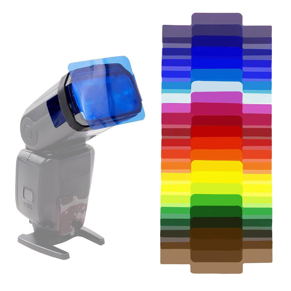 20 PCS Universal Camera Flash Gels Transparent Color Correction Balance Lighting Filter Kit for Photo Studio Camera Accessories