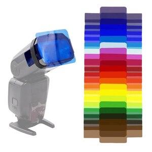 Image 1 - 20 Stuks Universele Camera Flash Gels Transparante Kleur Correctie Balans Verlichting Filter Kit Voor Photo Studio Camera Accessoires