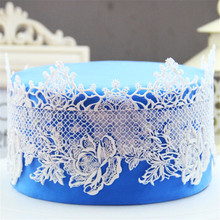 Mom&Pea GX154 Free Shipping Flower Big Size Lace Mold Cake Decoration Fondant Cake 3D Mold Food Grade Silicone Mould