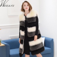 New Winter Artificial Fur Sleeveless Jacket Women Long fox Fur Vest Thick Warm waistcoat Coat Female Faux Fur patchwork Cardigan
