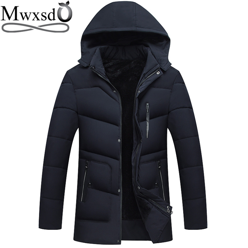 Mwxsd winter Men's Hooded warm thick Parka jacket Men warm fur jacket and coat for  20 degree male trench coat outwear-in Parkas from Men's Clothing    1