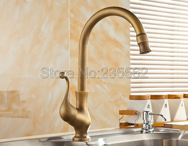 Antique Brass 360 Swivel Spout Kitchen Sink Faucet and Basin Mixer Tap Single Handle Faucets lsf110