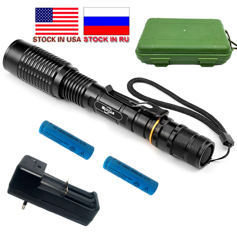 ZK20 Dropshipping 5 Modd Zlasable LED Flashlight LED V5 CREE XM-L T6 8000LM Torch LED Addas 2 * 18650 Stoc Batris yn RU