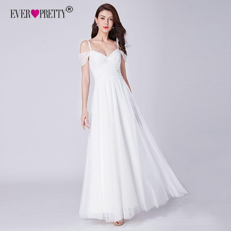 Простое свадебное платье Ever Pretty EP07519WH элегантное платье трапециевидной формы с v-образным вырезом кружевное свадебное платье es с открытыми ...