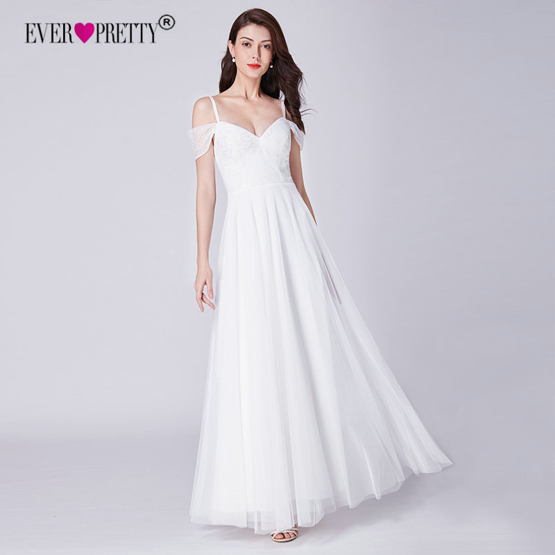 Simple Wedding Dress Ever Pretty EP07519WH Elegant A Line V Neck Lace Wedding Dresses Off Shoulder Bridal Gowns Vestido De Bodas