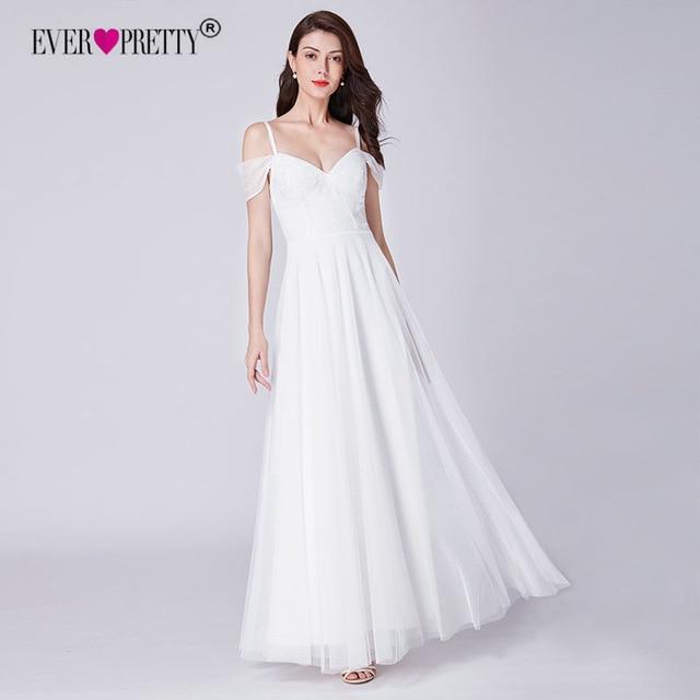 bf5bdee7b7c7 Simple Wedding Dress Ever Pretty EP07519WH Elegant A Line V Neck Lace  Wedding Dresses Off Shoulder Bridal Gowns Vestido De Bodas