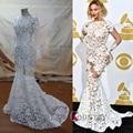 See-Through Vestidos de Baile Branco Sexy Beyonce Cheia Backless Full Lace Trumpet/Sereia Celebridade Vestidos Desgaste da Noite Elegante vestidos