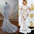 Ver A Través de Blanco Vestidos de Baile Sexy Beyonce Completo de Encaje Sin Espalda Completa Trompeta/Sirena de La Celebridad Vestidos de Noche Desgaste Elegante vestidos