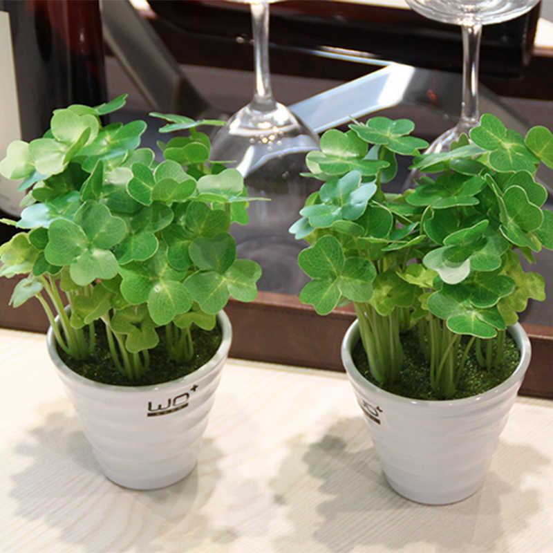 ZLKING Fortunato 100 Pcs Clover Pianta In Vaso Bonsai Mini Formaldeide Verde Sano Divertimento Fiore