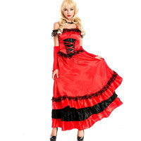 Spanish Dance Dress Stage Big Pendulum Skirt Opening Dance Skirt Red Costumes Flamengo Dancer M Spain Flamenco Dress