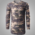 Camouflage T Shirt Men 2016 Brand Hole Men T-shirt Autumn Long Sleeve Hip Hop Cotton Tee Shirt Homme Slim Fit Military Army Tees