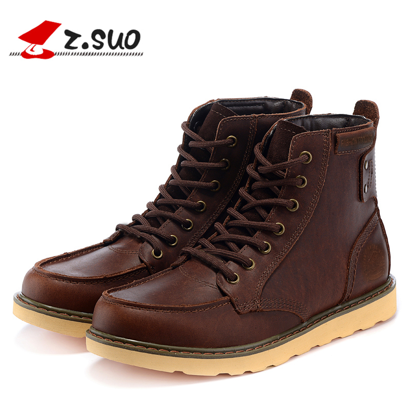 Z. Suo men Hiking boots. Head layer cowhide boots male,cylinder in pure color with men Hiking Shoes z suo men s shoes pure color denim casual shoes men s wear in spring and summer of canvas shoes with flat sole zs16106