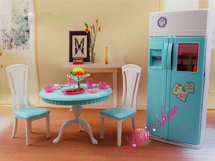 Dinner Tea Table Chair Refrigerator Set / Dollhouse Dining Room Furniture  Accessories Decoration For Barbie Kurhn Doll Toy In Dolls Accessories From  Toys ...