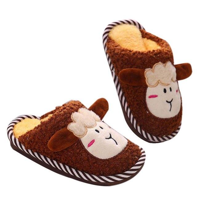 Прекрасный дизайн Детей ежедневно утолщенной тапочки/дом обуви Милый агнца моделирования нескользящей подошвой Легкий и мягкий Подходит для зимы
