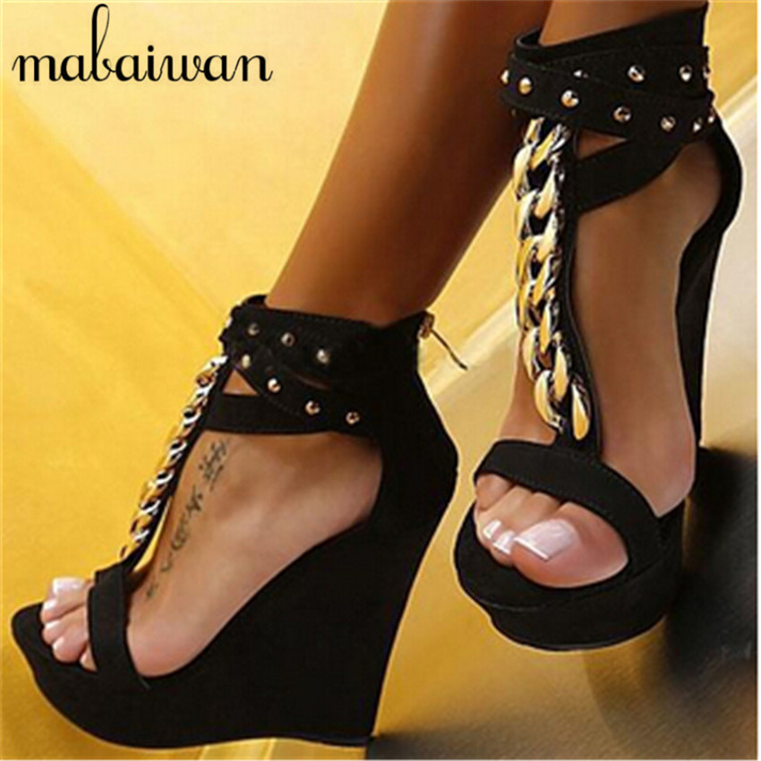 Sexy Black Rivets Sandals Metal Decor Women Platform Pumps Gladiator Wedge Shoes Woman High Heels Ladies Stiletto Wedges phyanic 2017 gladiator sandals gold silver shoes woman summer platform wedges glitters creepers casual women shoes phy3323