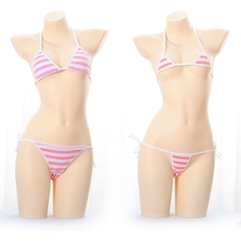 Japanese Sexy Lingerie Lolita Kawaii Blue Pink White Striped Mini Bikini Adult Cosplay Erotic Costumes   Bra   Women Underwear   Set
