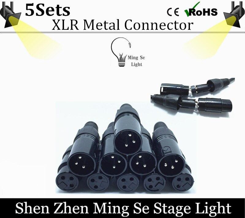 5sets 3 PIN XLR metal Connector for DMX Cable LED PAR stage lights dmx cable dj
