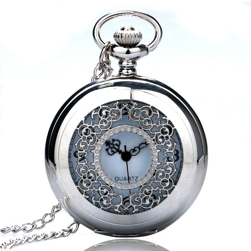 Vintage Pendant Hollow Exquisite Grilles Elegant Retro Gift Men Women Pocket Watch With Silver Quartz Necklace Chain Pocketwatch