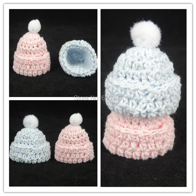 New 12 Pcs Miniature Crochet Hat Baby Shower Favors Baptism For Party  Decorations Pink Blue 30
