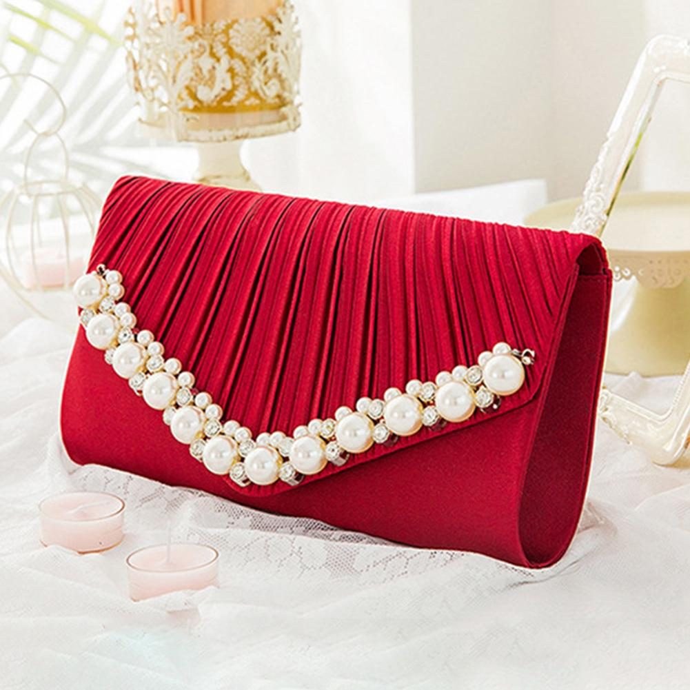 Chain-Bag Pleated-Face Girl Fashion Messenger Dinner-Clutch Pearl Wind-Shoulder Diamond