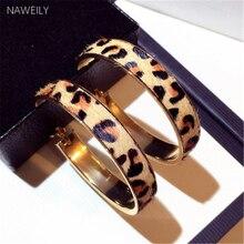 Новые Модные леопардовые серьги-кольца, гиперболические серьги из конского волоса, большие круглые серьги для женщин, золотые металлические женские ювелирные изделия, клипсы для ушей в стиле панк