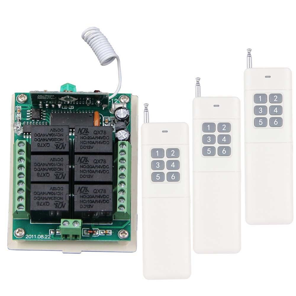 ФОТО 3000M DC12V 24V 6 CH 6CH RF Wireless Remote Control Switch System,315/433 Mhz,3 X Transmitter + Receiver,Self-lock Inter-lock