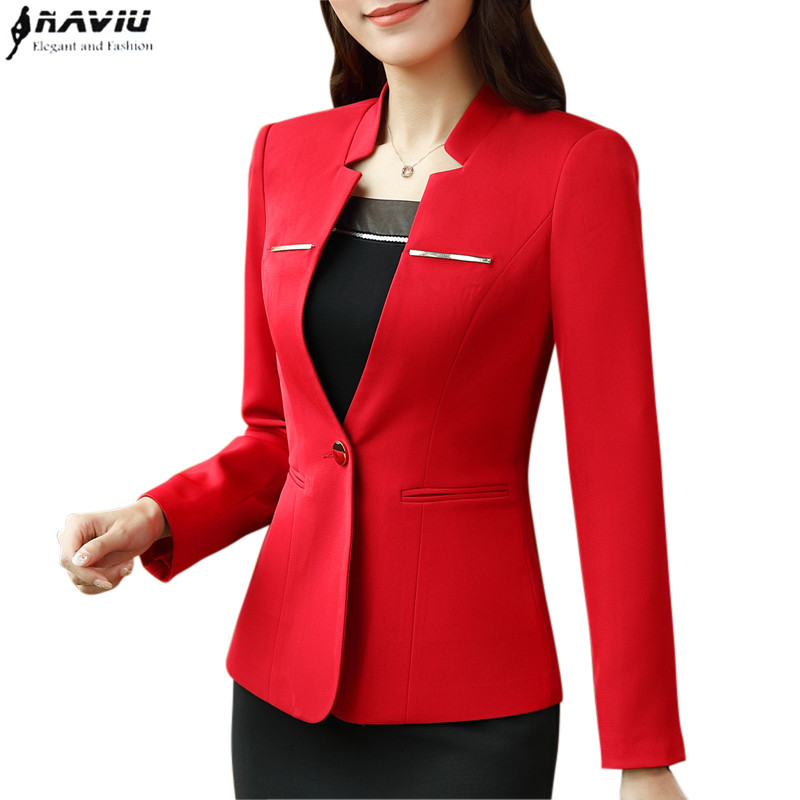 New Spring Professional Blazer Fashion Business Formal Long Sleeve Slim Women Jacket Office Ladies Plus Size Work Coat To Suit The People'S Convenience