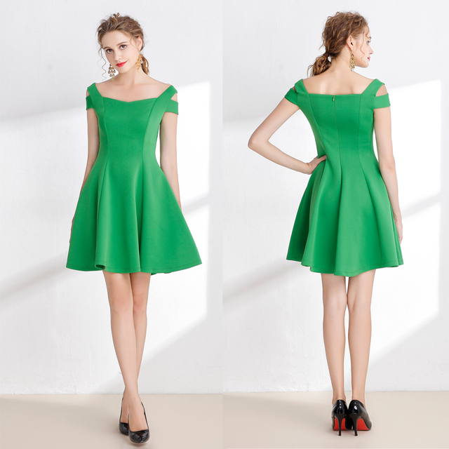 B0051 New Green Jade Short Above Knee Ruched Cap Sleeves Square ...