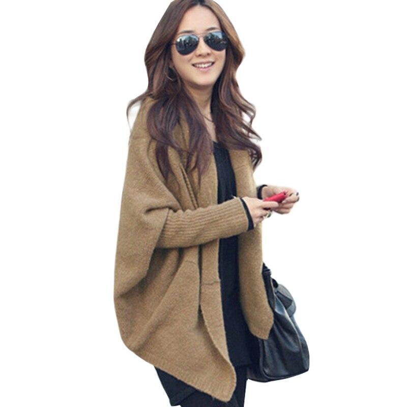 8e49fe8a5328b Cardigan mujeres 2016 verano moda mujer gran tamaño sueltos de punto suéter  manga Batwing Tops de lana de la rebeca Feminino CA2 en Cardigans de La  ropa de ...