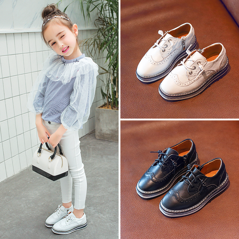 AAdct leather boys shoes 2018 new casual children shoes Genuine leather girls shoes spring autumn All-match Brand High-quality