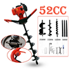 Professional Drill 52cc 2HP Petrol Powered Earth Auger Post Hole Borer Ground Drill Set 3 Bits
