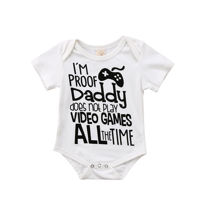 Video Game Newborn Infant Baby Boy Girl Short Sleeve Letter Print Cotton   Romper   Jumpsuit Outfits Casual Clothes 0-24M