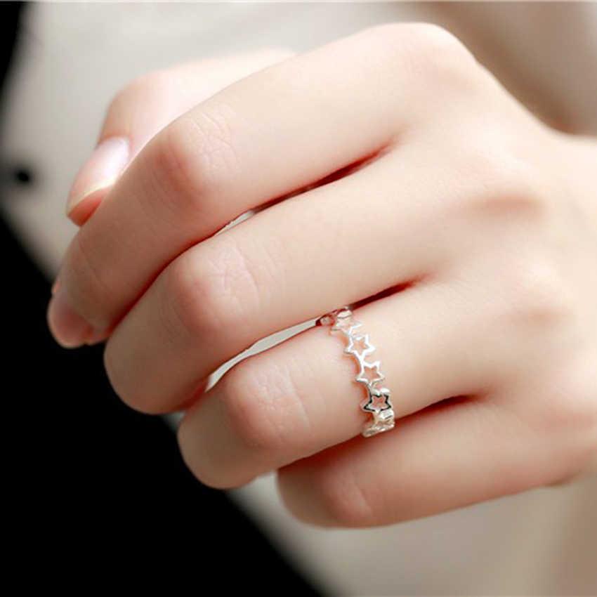 Qiamni, регулируемый звезды стекируемые палец кольцо праздничный подарок на Рождество для Для женщин платье для девочки на день рождения ювелирные украшения, бижутерия Anillos