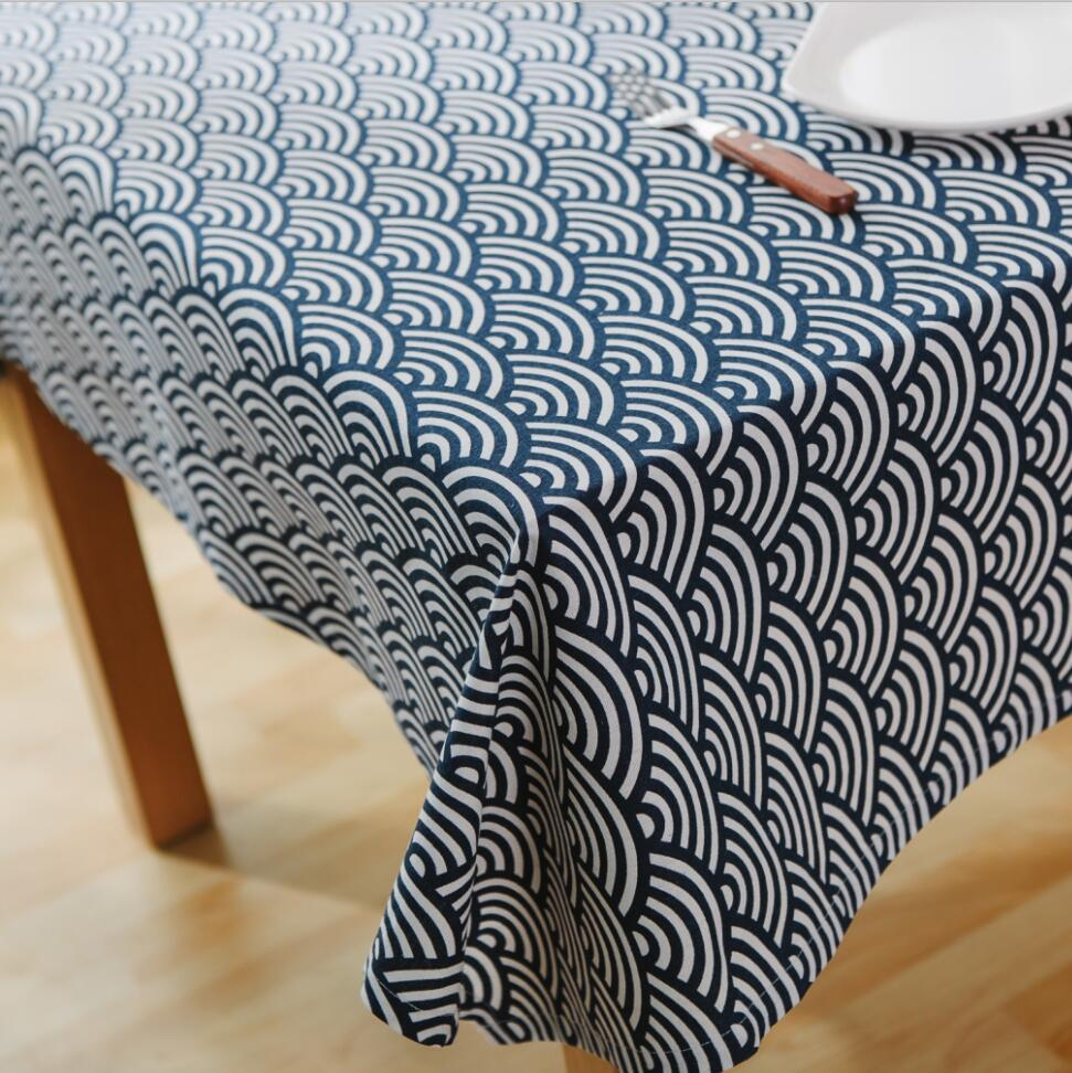 [ Slow Soul] Japan Style Blue Waves Tablecloth Mediterranean Geometric  Totem Folk Table Cover Toalha De Mesa Nappe Rectangulaire In Tablecloths  From Home ...