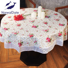 PVC Waterproof Oilproof Round Tablecloths Popular Embroidery Table Cover for Tablecloth Home Hotel Banquet