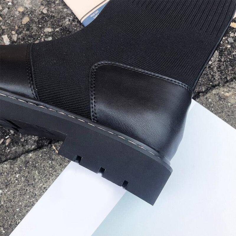 Stretch Glissement Mi Talons Bloc Femmes Mcckle Bottes Loisirs Creepers Chaussettes Hiver Casual Dames Black Sur Des Plate Chaussures forme mollet wAnvT