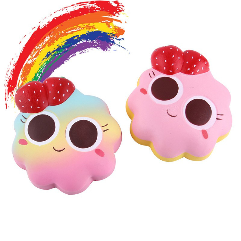 14CM Strawberry Rainbow Star Cake Bread Squishy Slow Rising Jumbo Cartoon Face Bread Doll Soft Scented Straps Fun Kid Toys