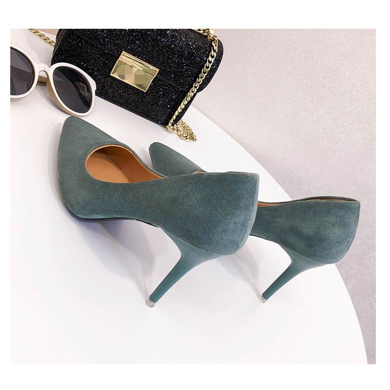 EOEODOIT Women High Stiletto Heels Shoes Shallow Mouth Pointy Toe Slip On Office Lady Pumps Spring Autumn All Match 9 CM