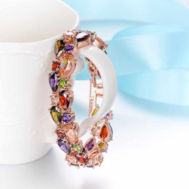 FYM mode Mona Lisa Rose Gold Farbe Schmuck Sets für Frauen Bunte Kristall Halskette Ohrringe Armband Multicolor Schmuck-Set