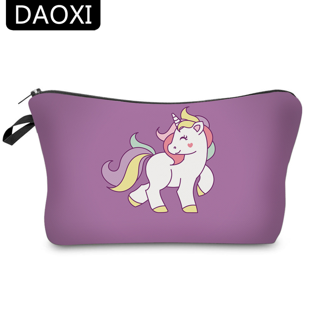 DAOXI 3D Printing Emoji Unicorn Portable Large Cosmetic Bag Storage Women for Traveling Makeup Necessaries spark storage bag portable carrying case storage box for spark drone accessories can put remote control battery and other parts